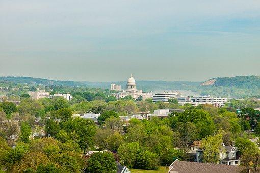 Little Rock, Arkansas, State, Capitol, Aerial, River