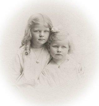 Girls, Vintage, Children, 1910, Sepia, Sisters, Retro