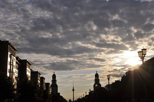 Berlin, Tv Tower, Frankfurter Tor, Sunset