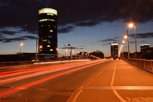 City, Big City, Building, Night, Skyscraper, Frankfurt
