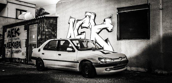 Car, Abandoned, Old, Rusty, Wreck, Graffiti, Street
