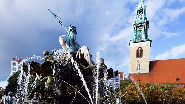 Fountain, Neptune, Berlin, Stone Figure, Sculpture