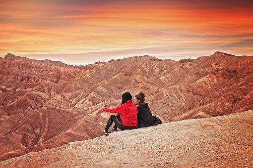 Hiking, Sunset, Dessert, Mountains, Nature, Beautiful