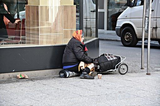 Poverty, Homeless, Frankfurt, Beggar Woman