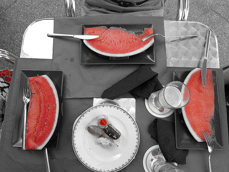 Melon, Eat, Fruit, Watermelon, Red, Embroidery
