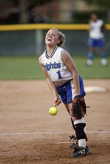 Softball, Pitcher, Female, Game, Pitch, Pitching