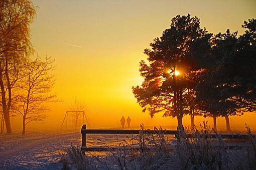 Sunset, Two People, Winter, Way, Silhouette, Snow