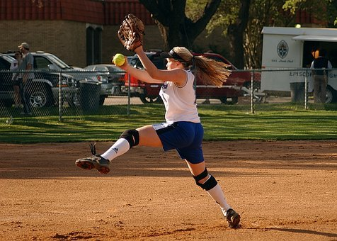 Softball, Pitcher, Female, Pitching, Field, Game