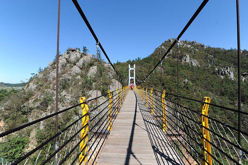 Perspective, Mountain, Suspension Bridge, Bridge