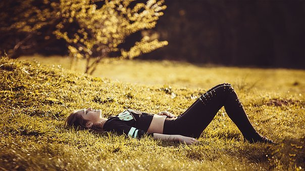 Girl Lying On The Grass, Freedom, Sports, Yoga, Pants