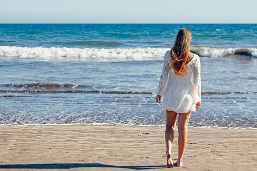 Young Woman, Woman, Sea, Ocean, White Dress, Beach