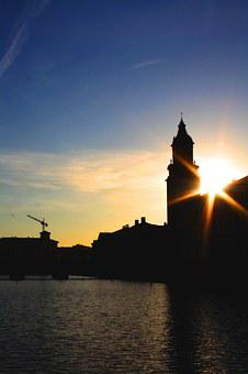 Gothenburg, Sweden, Sunset, Brunnsparken, Water, Church