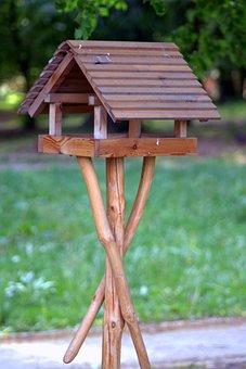 Bird Feeding Tray, Shed, Wooden, Birds, Folk Art