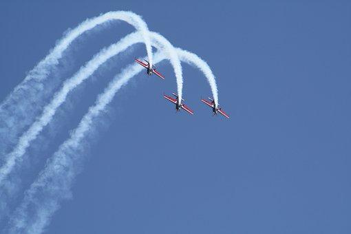 Aircraft, Flugshow, Formation, Event, Fly, Aerobatics