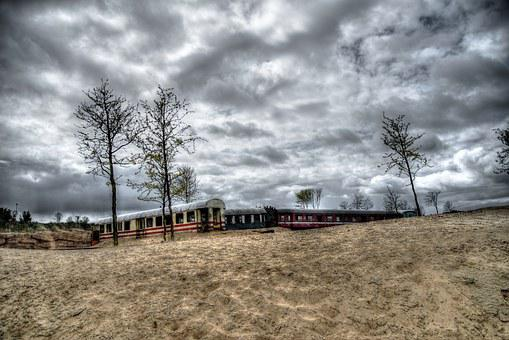 Tram, Train, Desert, Abandoned, Hdr, Barren Wasteland