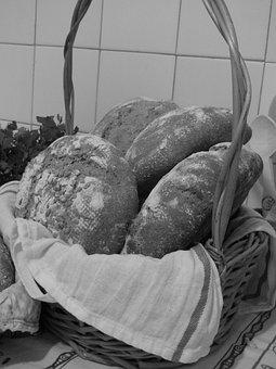 Bread, Basket, Loaves, Sourdough, Baked, Crusty