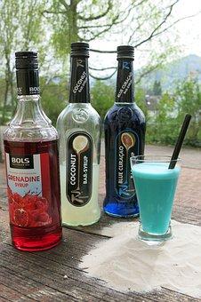 Cocktail, Drink, Summer, Alcohol, Bottles, Syrup, Cocos