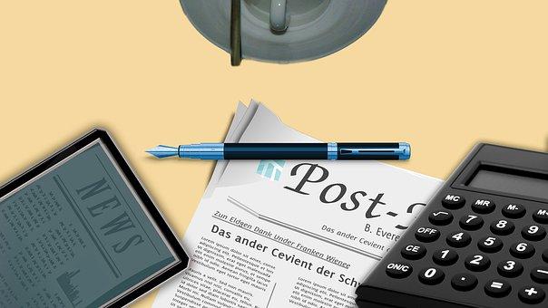 Office, Ereader, Desk, Newspaper, Coffee, Work