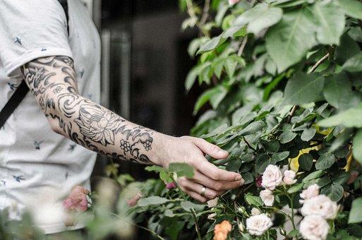 Tattoo, Sleeve, Hand, Ink, Peony, Japanese, Style, Man