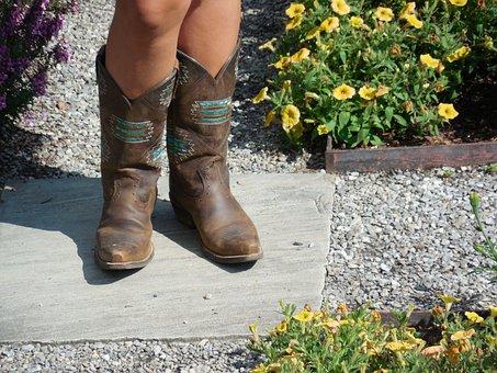 Girl, Boots, Cowboy, Young, Fun, Outdoor, Happy, Cute