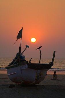 Sunset, Ocean, Boat, Beach, Girl, Meditation, Yoga