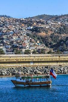 Chile, Sea, Baron Dock, Sky, Hills