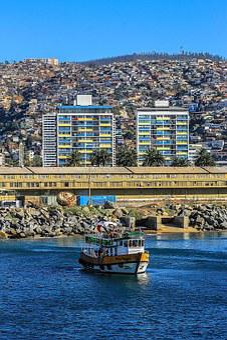 Boat, Spring, Chile, Sea, Baron Dock, Sky, Hills
