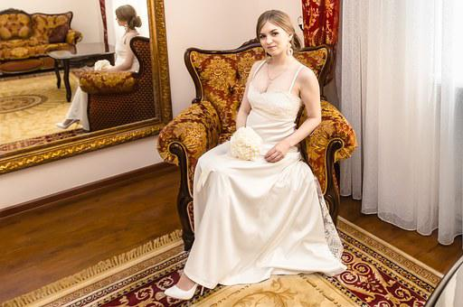 Bride, Wedding, Room, White Dress, Armchair