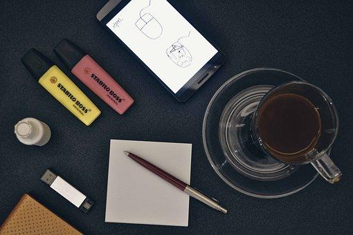 Cyber, Flat, Design, Designer, Stuff, Stuff On A Desk