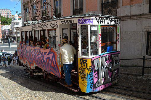 Tram, Lisbon, Portugal, Old Town, Means Of Transport
