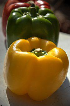 Pepper, Yellow, Green, Red, Vegetable, Healthy