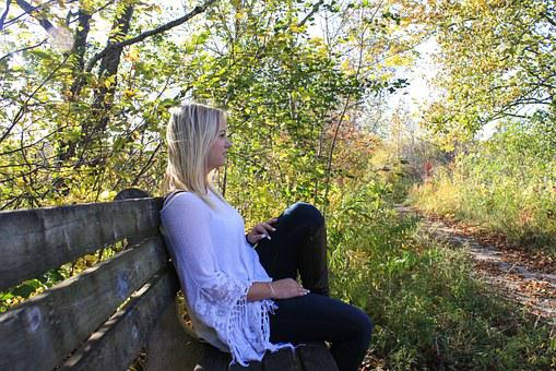 Woman, Thinking, Bench, Profile, Side-profile