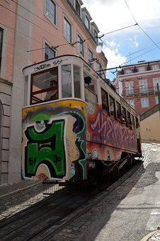 Tram, Lisbon, Portugal, Old Town, Means Of Transport