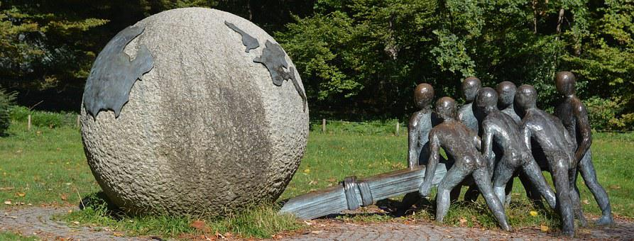 Image, Statue, Sculpture, Children, Globe, Lyon, Peace