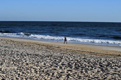 Person, Walking, Beach, Alone, Outdoors, Ocean, Surf