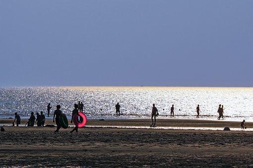 Back Light, Beach, Sand Beach, Swim, St Peter, Ording