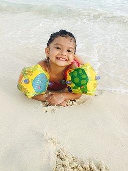 Bebe, Cancun, Child, Girl, Happy, Smile, Swimming, Sea