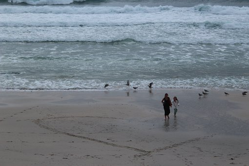 Beach, Mother, Mum, Family, Sea, Child, People