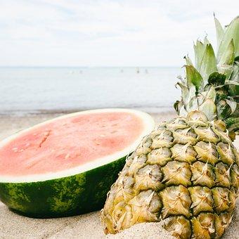 Pineapple, Sunset, Fruit, Beach, Golden, Summer, Sand