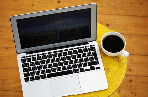 Laptop, Computer, Cup Of Coffee, Yellow, Stool