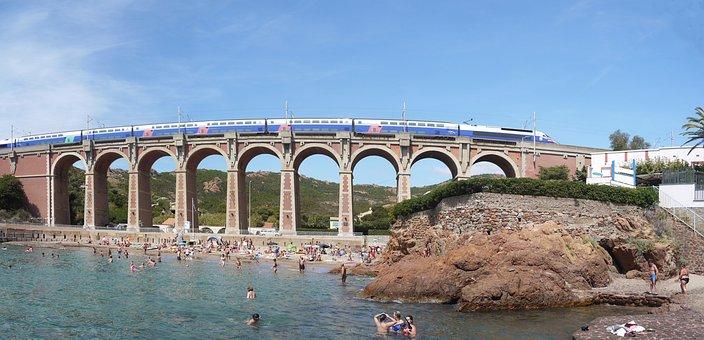 Côte D ' Azur, Beach, Mediterranean, Arch Bridge, Train