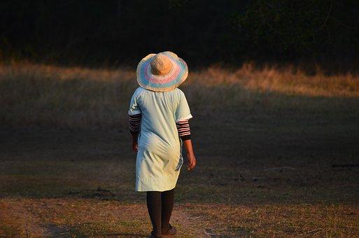 Woman, Run, Walk, Female Back, Hat Woman, Go For A Walk