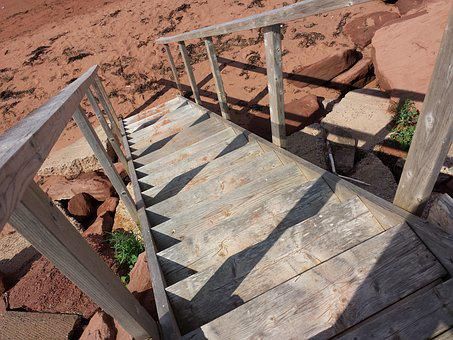 Stairs, Beach, Ocean, Coast, Sea, Prince Edward Island
