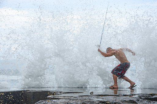 Spray, Water, Sea, Man, Swimming Trunks, Fish, Strong