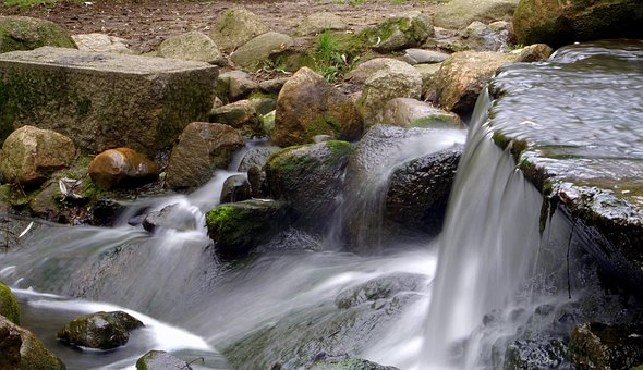 Waterfall, Water, Source, Stream, The Stones, River