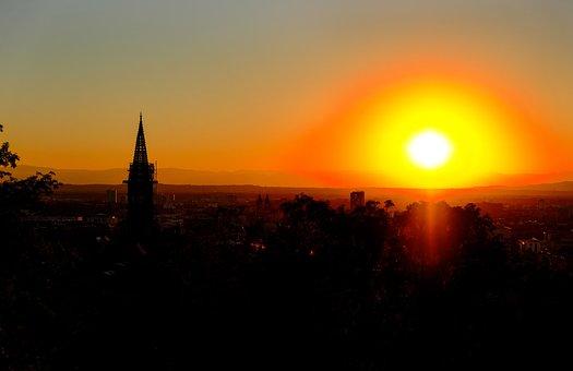 Sunset, Sun, White, Yellow, Orange, Glowing