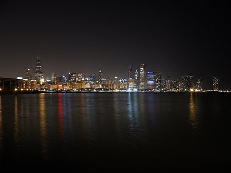 Chicago Night, Lake Michigan, Reflection, Skyline