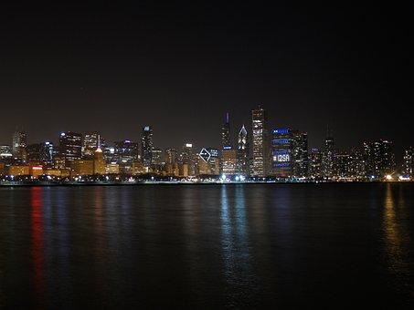 Chicago Night, Lake Michigan, Reflection, Skyline