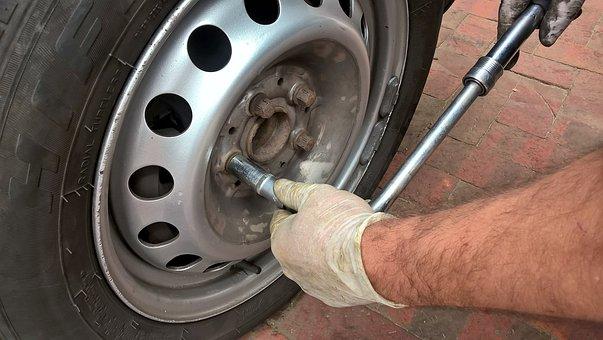 Wheel, Breakdown, Auto, Flat Tire, Screw, Mechanic