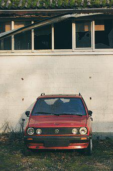 Volkswagen, Red, Auto, Old, Decay, Spotlight, Mature